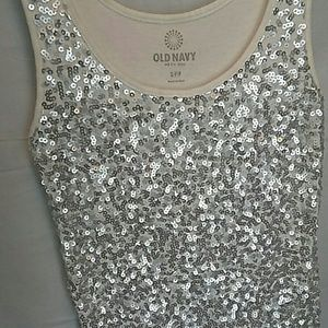 Old Navy Tops - Old Navy Silver Sequin Tank